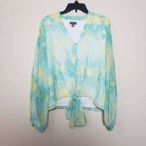 🆕️VINCE CAMUTO Bubble Sleeve Tie Dye Top🆕️